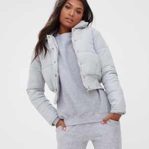 PrettyLittleThing Grey Cropped Puffer Jacket